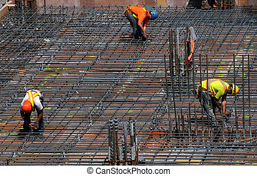 Rebar team - Men placing rebar