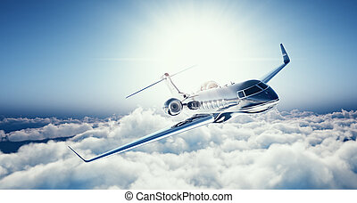 Image of black luxury generic design private jet flying in...