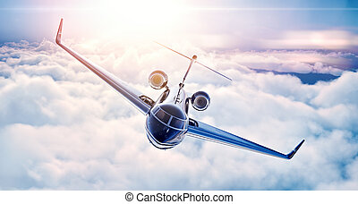 Picture of black luxury generic design private jet flying in...