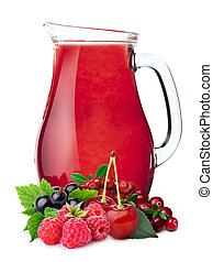 Pitcher of berry juice - Multifruit juice pitcher or jug...