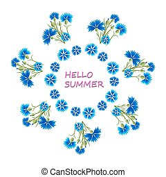 Blue Cornflowers in a Circle - Hello summer.Greeting card...