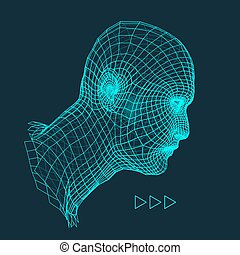 Head of the Person from a 3d Grid Human Head Wire Model...