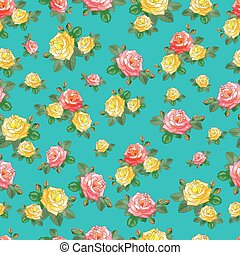 The small Roses on a Turquoise Background