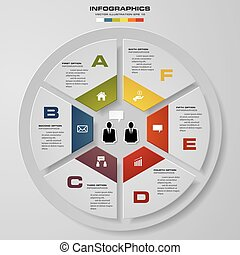 Abstract 6 steps modern pie chart infographics elements.