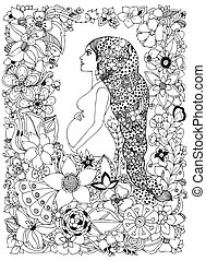 Vector illustration zentangl pregnant woman in a flower frame, doodle, zenart flowers. Adult coloring books. Black and white.