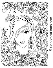 Vector illustration girl with Asian zentangl bee inher hair. Doodle frame flowers. Zenart anti-stress. Adult coloring books.