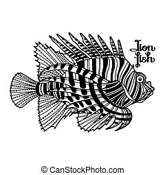Graphic lion fish - Graphic vector lion fish isolated on...