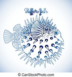 Graphic puffer fish isolated on white background. Sea...