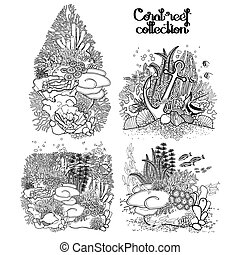 Graphic coral reef collection - Coral reef collection in...