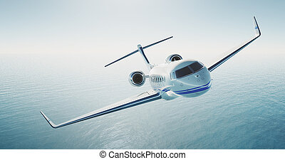 Picture of white luxury generic design private jet flying...