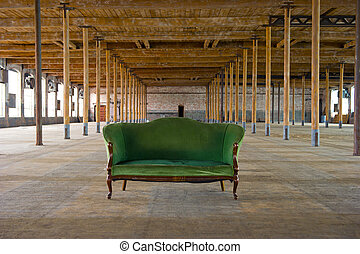 Antique Green Couch in old building - Image of an antique...