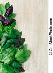 Heirloom basil on wooden table, many cultivars including...