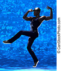 Stunning black male dancer in specific posture isolated on...