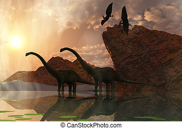 DINOSAUR DAWN - Two diplodocus dinosaurs and two flying...