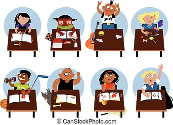 Schoolchildren characters set - Set of diverse school...