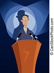 Speech anxiety - Man standing on a podium under spotlights,...