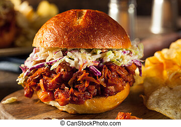 Homemade Vegan Pulled Jackfruit BBQ Sandwich with Coleslaw...