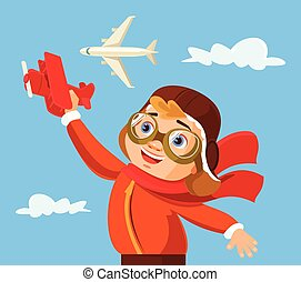 Boy play with airplane Vector flat cartoon illustration