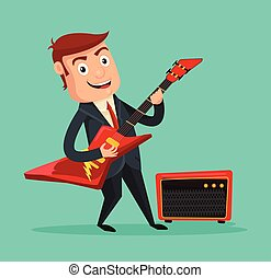 Businessman guitarist Vector flat cartoon illustration