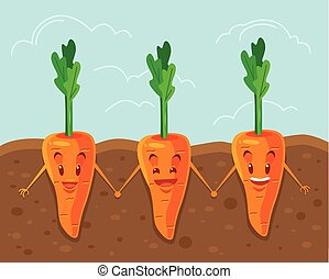 Carrot grown underground Vector flat cartoon illustration
