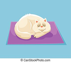 Sleeping cat. Vector flat cartoon illustration