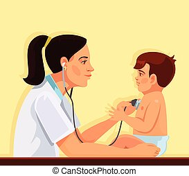 Pediatrician and child. Vector flat cartoon illustration