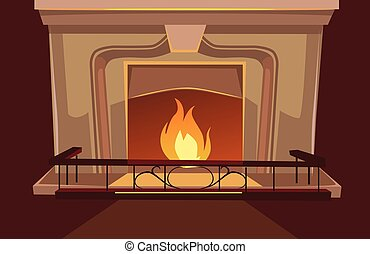 Fireplace vector flat cartoon illustration