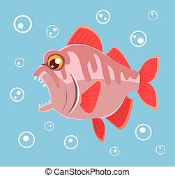 Predatory fish Vector flat cartoon illustration