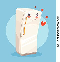 Cute cartoon happy fridge Vector flat illustration