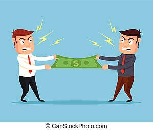 Men divide money Vector flat cartoon illustration