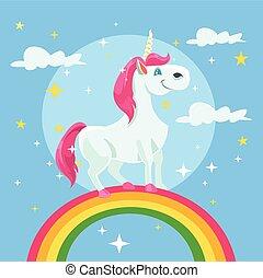 Unicorn vector flat cartoon illustration