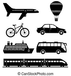 Silhouettes of transport set