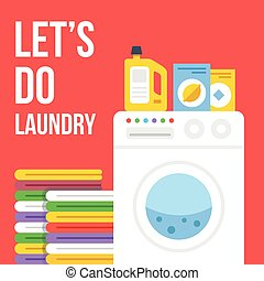 Laundry vector flat illustration - Laundry flat...