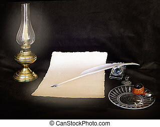 Vintage still life,letter,pen, pipe on a black desk and a...