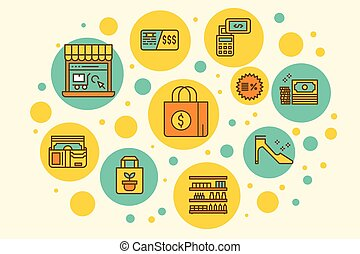 Retail Store Business outline filled icons concept...