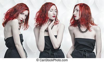 pelirrojo, joven, mujer, conceptual, retrato,