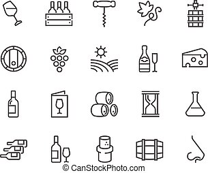 Line Wine Icons - Simple Set of Wine Related Vector Line...