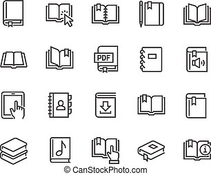 Line Book Icons - Simple Set of Book Related Vector Line...