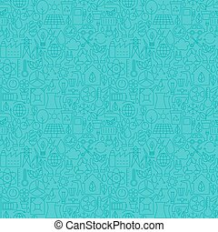 Thin Line Eco Friendly Ecology Blue Seamless Pattern. Vector...