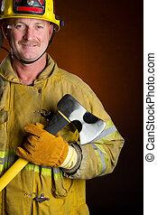 Firefighter - Smiling firefighter holding axe