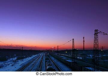 carga, trenes, con, Carruajes, estante, en, ferrocarriles,...
