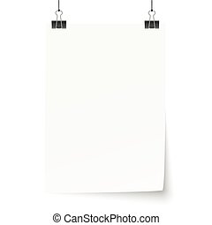 white paper with binder clips - empty white paper with...