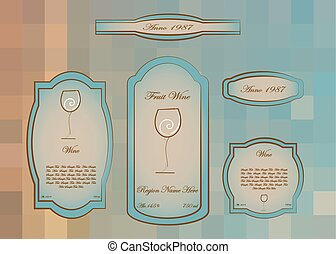 Wine labels collection white wine, Glass logo