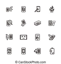 Simple Smart Phone Repair Icons - Simple Set of Smart Phone...