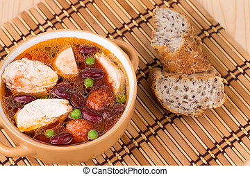 Fresh vegetable soup with chicken.