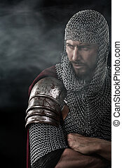 Medieval Warrior with chain mail armour - Portrait of...