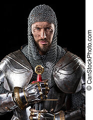 Medieval Warrior with chain mail armour and Sword - Portrait...