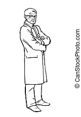 Old male doctor standing arms crossed - Serious doctor man...
