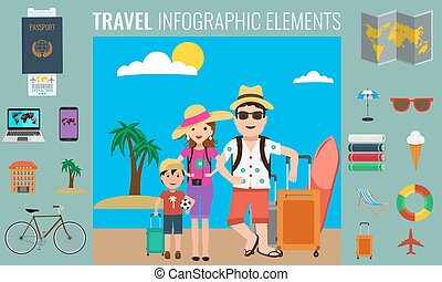 Travel infographics elements and happy tourist family traveling.