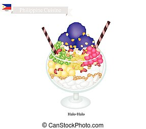 Halo Halo or Filipino Shaved Ice with Milk and Fruits -...